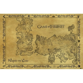 Plakát Game of thrones - mapa Westerosu a Essosu